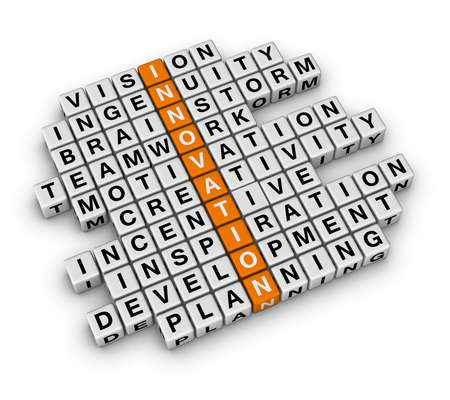 innovation concept: New Business Innovation (3D crossword orange series)