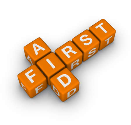 first aid   (3D crossword orange series) Stock Photo - 8773225
