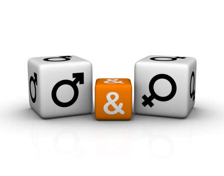 male and female symbol   (3D crossword orange series) Stock Photo - 8773204