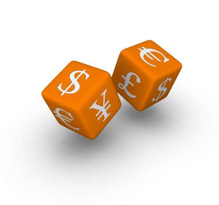 currency exchange dice icon   (3D crossword orange series) photo