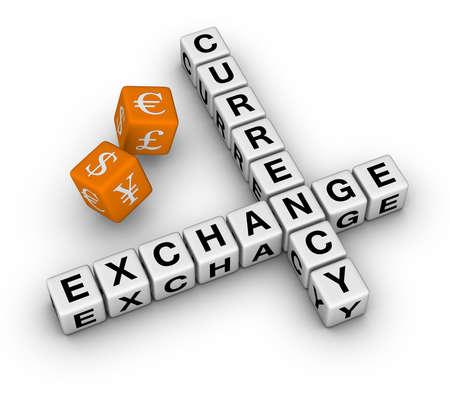 currency exchange crossword and dice   (3D crossword orange series) Stock Photo - 8773226