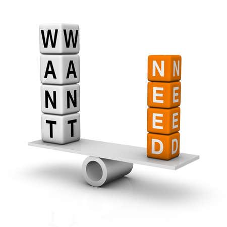 needs and wants balance  (3D crossword orange series) Stock Photo - 8773214