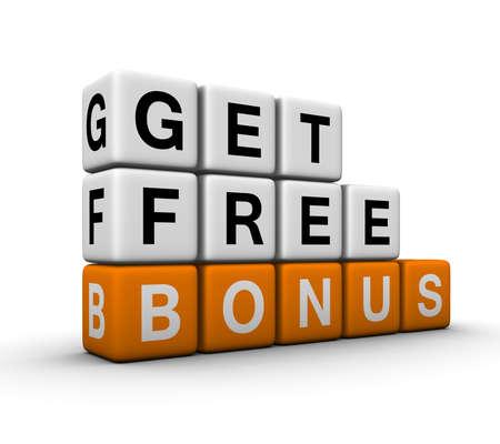 get free bonus symbol for sales promotion   (3D crossword orange series) Stock Photo - 8773213