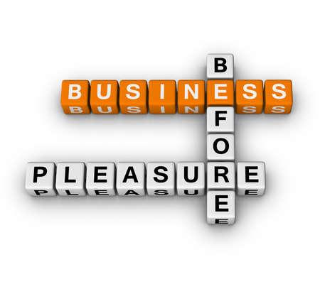 aphorism: business before pleasure  (3D crossword orange series) Stock Photo