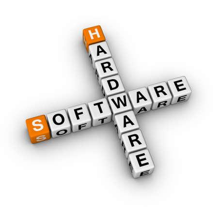 upgrade hardware and update software  (3D crossword orange series) Stock Photo - 8773216