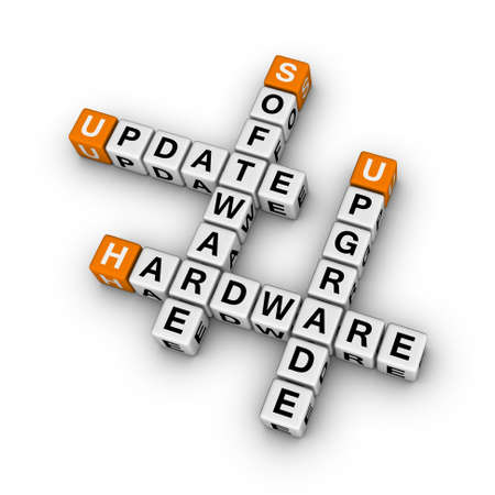equipos: actualizar el hardware y actualizar el software (serie 3D crucigrama naranja)
