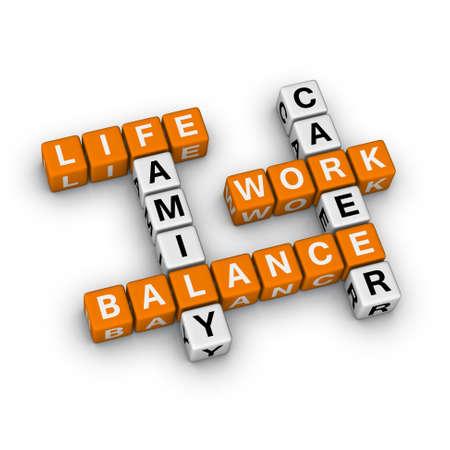 planificacion familiar: Trabajo y equilibrio de la vida (serie 3D crucigrama naranja) Foto de archivo