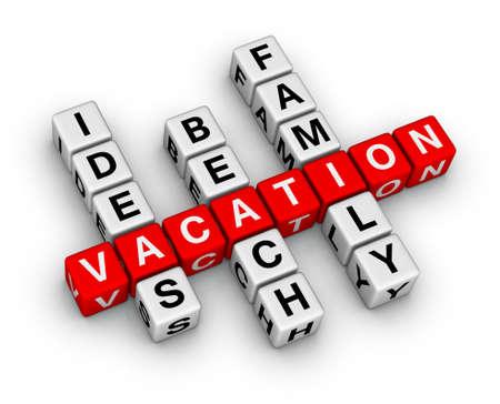 agencia de viajes: crucigrama de vacaciones familiares de playa de ideas