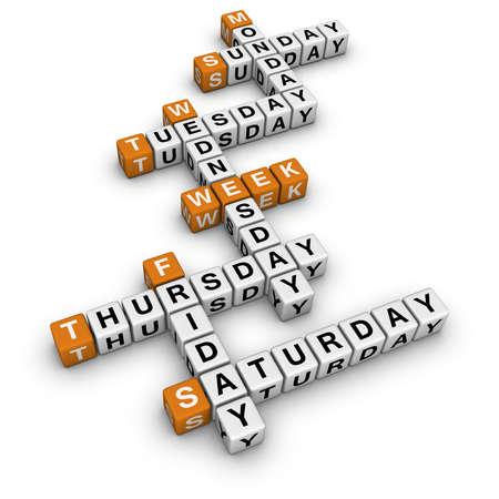 weekdays: weekdays  (3D crossword orange series)