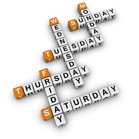 days of week: weekdays crossword  (3D crossword orange series)