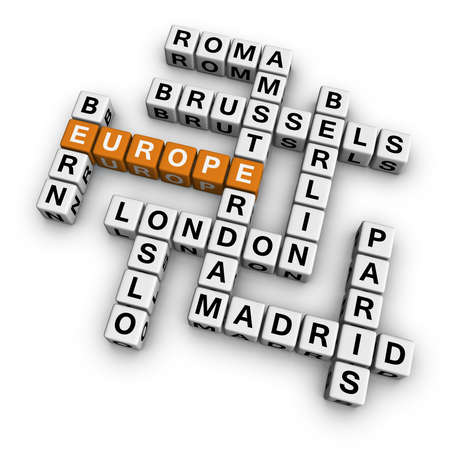 holand: europe  (3D crossword orange series) Stock Photo
