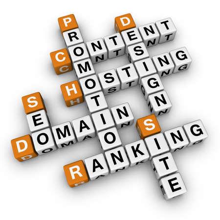crossword: website  (3D crossword orange series) Stock Photo