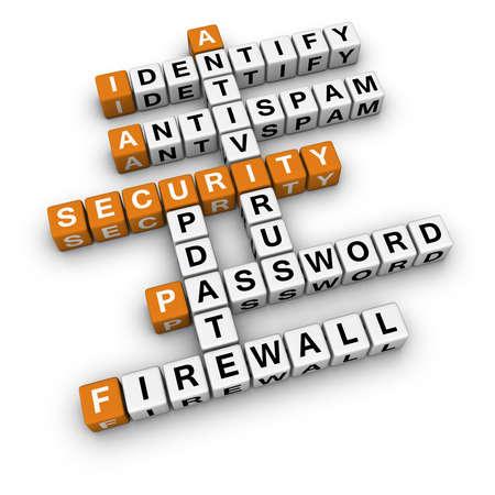 computer security   (3D crossword orange series) Stock Photo - 9450604