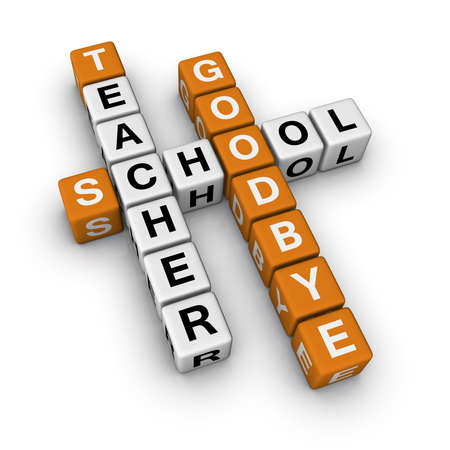 crossword: goodbye school   (3D crossword orange series) Stock Photo