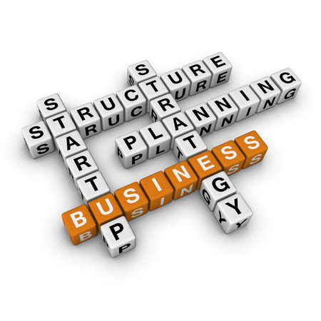 crossword: startup business   (3D crossword orange series) Stock Photo