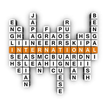 polyglot: multilingual concept  (3D crossword orange series) Stock Photo