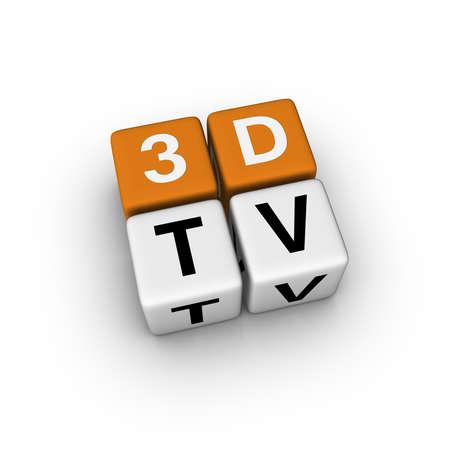 3dtv: 3DTV  (3D crossword orange series) Stock Photo