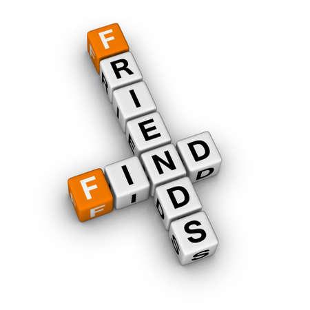 search new friend   (3D crossword orange series) photo