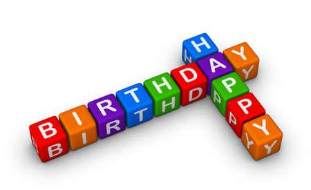 crosswords: happy birthday colorful sign