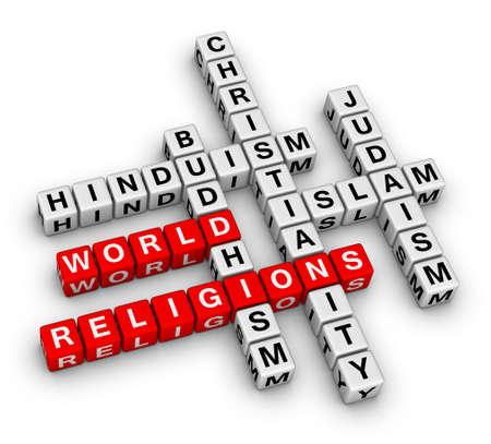 major world religions - Christianity, Islam, Judaism, Buddhism and Hinduism photo