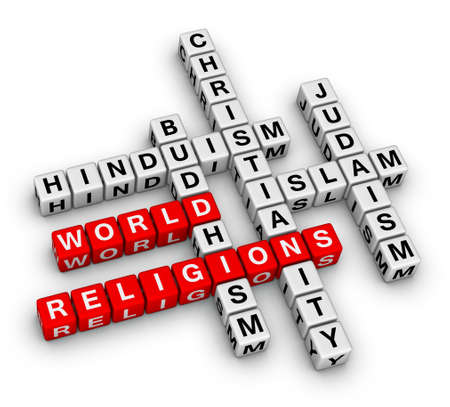 crossword: major world religions - Christianity, Islam, Judaism, Buddhism and Hinduism