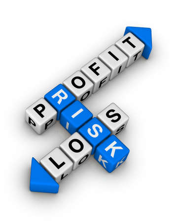 savings risk: Risk, Profit and Loss crossword Stock Photo