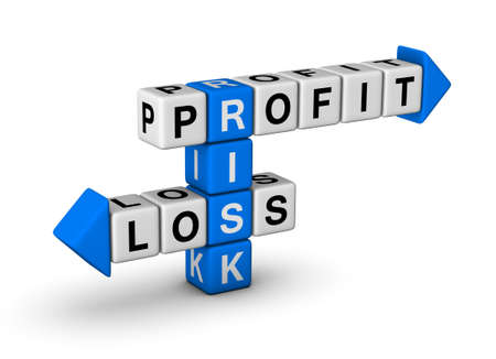 forex trading: Risk, Profit and Loss crossword Stock Photo
