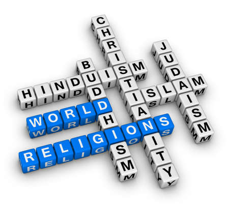 religious text: major world religions - Christianity, Islam, Judaism, Buddhism and Hinduism