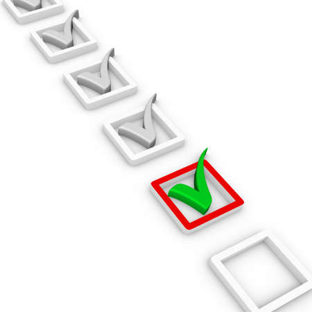 poll: check list and green check mark Stock Photo