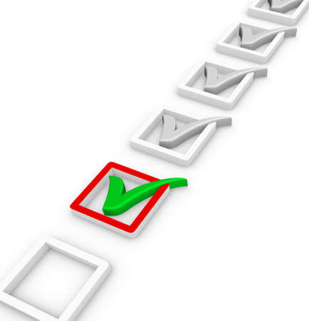 evaluate: check list and green check mark Stock Photo