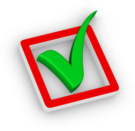 valid: check box and green check mark Stock Photo