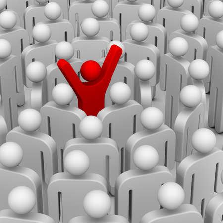 individual: many people around leader Stock Photo