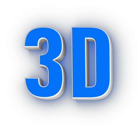 three dimensions: 3D label (design element with glowing effect)