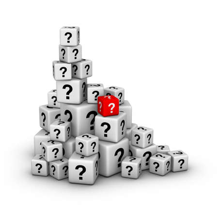 asking question: pile of big and small dices with question marks