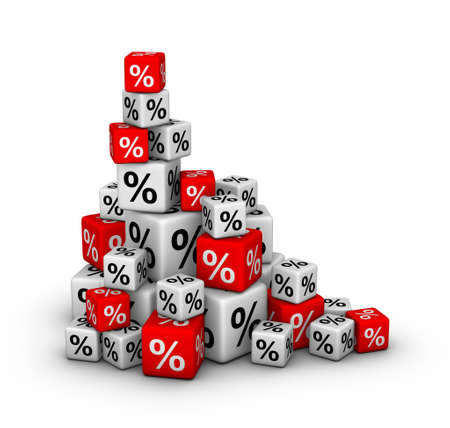 Stack of boxes with percent sign (sales or finance concept) photo