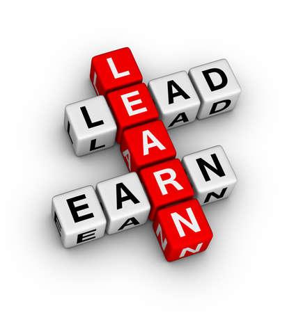 leiderschap: Leren om te leiden en verdien kruiswoordraadsel Stockfoto