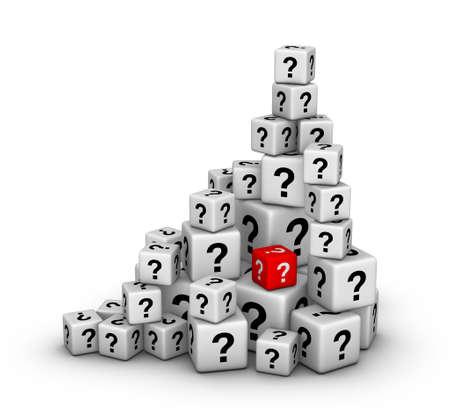 signo de interrogacion: pila de grandes y pequeños dados con signos de interrogación Foto de archivo