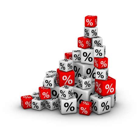 Pila de cajas con signo de porcentaje (ventas o concepto de Finanzas)