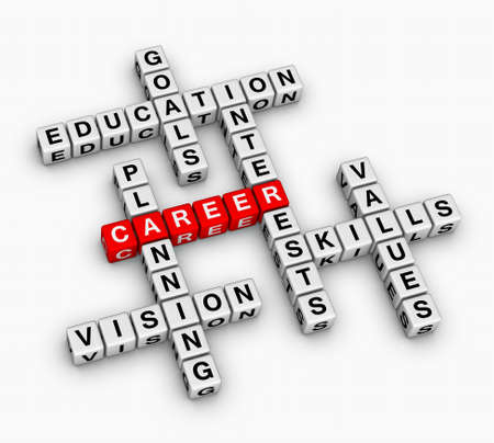 competencias laborales: carrera 3D crucigrama (concepto de b�squeda de empleo)