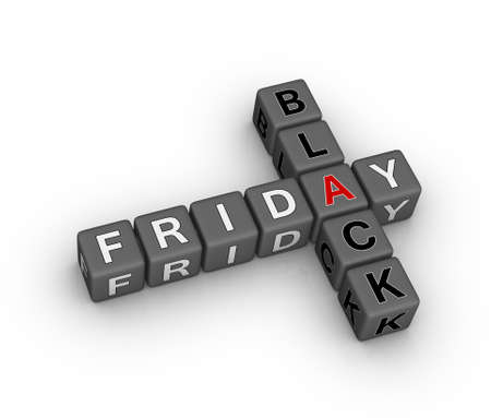 friday: black friday 3d crossword puzzle (design element for christmass sales) Stock Photo