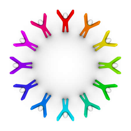 circle of friends: Colorful circle of peoples (unity concept) Stock Photo