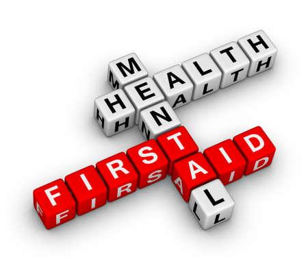 geestelijke gezondheid EHBO 3d kruiswoordraadsel Stockfoto