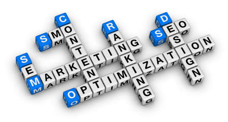 webdesign: website marketing 3d crossword puzzle Stock Photo