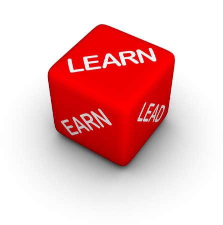 earn: learn, earn, lead - 3d dice