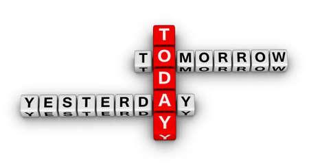 ayer, hoy, mañana crucigrama rompecabezas 3d (concepto de tiempo)