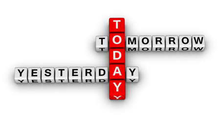 yesterday, today, tomorrow 3d crossword puzzle (time concept) photo