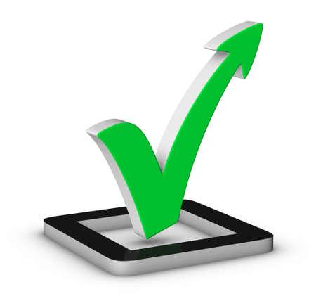 coincidir: Marca de verificación verde con la flecha en el fondo blanco Foto de archivo