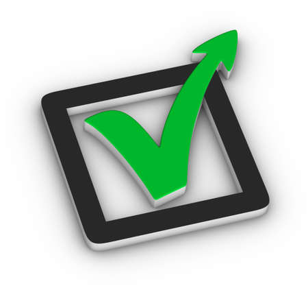 Green check mark with arrow on white background photo