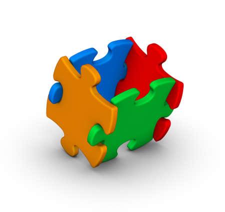 piezas de rompecabezas: cuatro piezas de puzzle de colores sobre fondo blanco