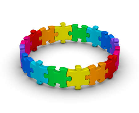circle of colorful jigsaw puzzles on white background photo
